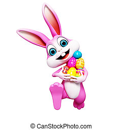 Easter bunny with egg - Pink bunny is walking with eggs