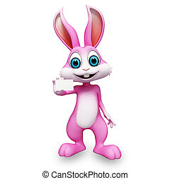 Bunny with visiting card - Pink bunny is holding a visiting...