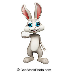 Bunny with visiting card - White bunny with visiting card