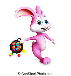 Easter bunny walking - Pink bunny walking with eggs basket