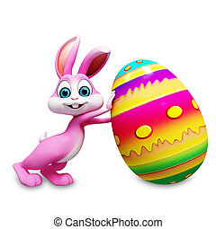 Easter bunny with big egg - Pink bunny is pushing a big egg