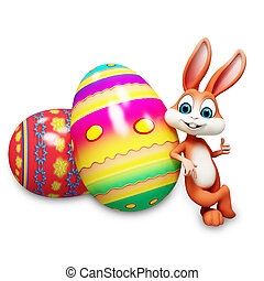 Easter bunny with thumbs up - Bunny thumbs up with big eggs