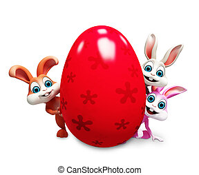 Easter bunny with big egg - Bunny are behind a big egg