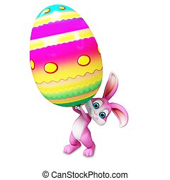 Easter bunny with big egg - Pink bunny holding a big egg