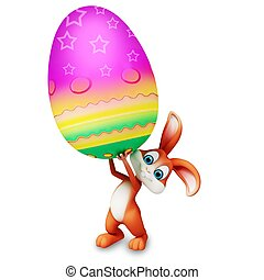 Easter bunny with big egg - Brown bunny is holding a big egg