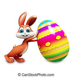Easter bunny with big egg - Brown bunny pushing a egg