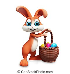 Easter bunny with eggs basket - Brown bunny with eggs basket