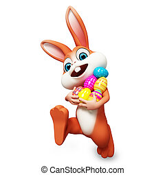 Bunny walking with eggs - Brown bunny is walking with...