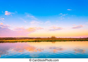 Sunset, Sunrise Over River