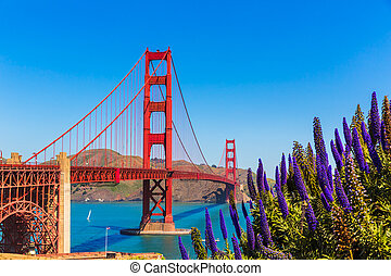 Golden Gate Bridge San Francisco purple flowers California -...