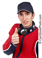 All right - Disc jockey with headphones on white background....