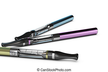 E-cigarettes, E-cig Over White Background - Three...
