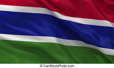 Flag of Gambia - seamless loop - Flag of Gambia waving in...