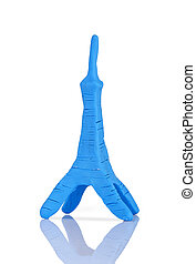 children's toy molded from clay - Eiffel tower
