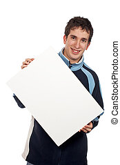 Holding the blank poster - Teenager holding the blank poster...