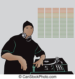 Disc Jockey Rap Music - Colored Illustration, Vector