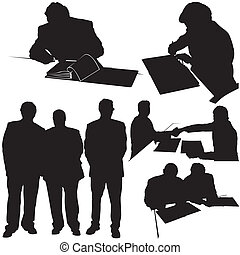 Business Silhouettes - Black Illustration, Vector