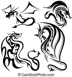 Tattoo Dragons - Black Illustrations, Vector