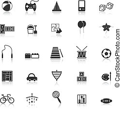 Toy icons with reflect on white background, stock vector