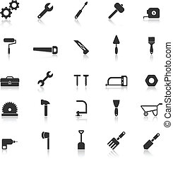 Tool icons with reflect on white background, stock vector
