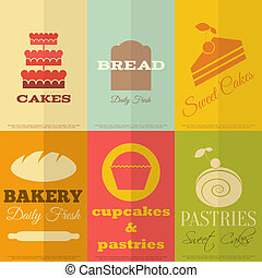 Retro Bakery Labels - Set of Retro Bakery Labels in Flat...