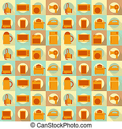 Flat Home Appliances Seamless Backg - Seamless Background -...