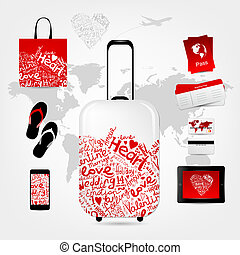 Romantic travel suitcase with set of trip things