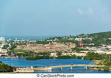 San Felipe Castle in Cartagena - View of a bridge and San...