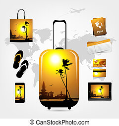Travel suitcase with trip things, tropical style