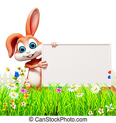 Bunny with sign - Brown bunny with sign, grass and flower