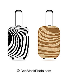 Travel suitcase with zebra print for your design