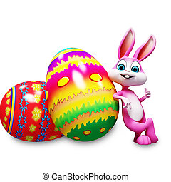 Easter bunny with colorful eggs - Pink bunny thumbs up wit h...