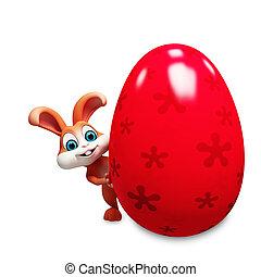 Easter bunny with big egg  - Brown bunny with big egg