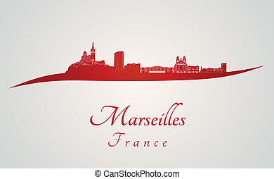 Marseilles skyline in red and gray background in editable...