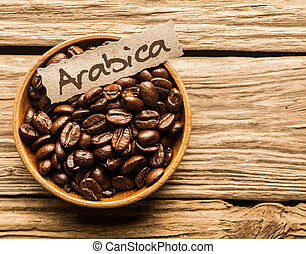 Bowl of Arabica coffee beans