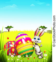 Easter bunny with big egg - White bunny thumbs up with big...