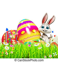 Easter bunny with big colorful eggs - White bunny with big...