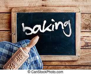Baking in a country kitchen - Country kitchen with a...