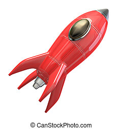 Rocket Ship - Red rocket - 3d rendering, isolated on white...