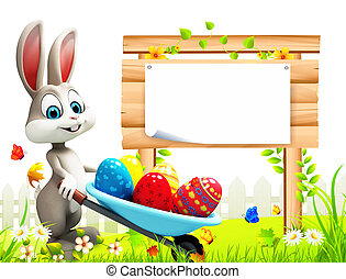 Easter bunny with sign - White bunny with eggs trolley and...