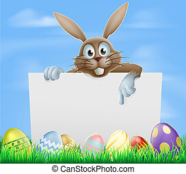 Easter bunny and eggs sign - The Easter bunny and chocolate...