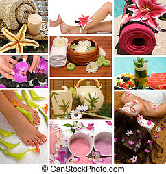 Spa Collage - Spa treatment with aromatherapy, pedicure,...