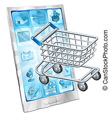 Mobile shopping app concept with a shopping cart or trolley...