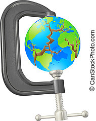 Clamp cracking globe concept - Illustration of a clamp...