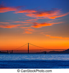 Golden Gate bridge sunset in San Francisco California USA