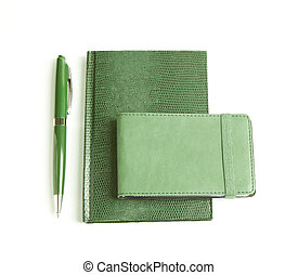 Corporate identity templates: green notepad, cards holder...