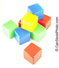 plastic toy blocks isolated on white background.