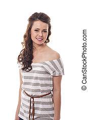Beautiful young brunette woman wearing in fashion shirt