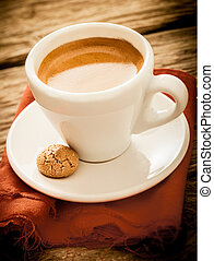 Hot aromatic morning espresso coffee - Serving of hot...