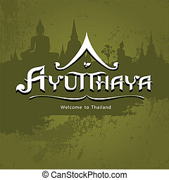 Ayutthaya Province message text design background, vector...